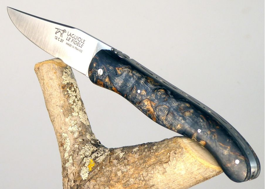 Laguiole Hunting Knife, Bee and Spring Forged, Birch Wood Dyed Dark Full Handle  - 1